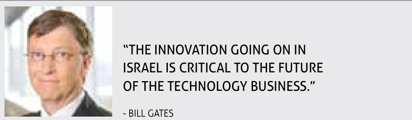 """THE INNOVATION GOING ON IN ISRAEL IS CRITICAL TO THE FUTURE OF THE TECHNOLOGY BUSINESS."" - BILL GATES"